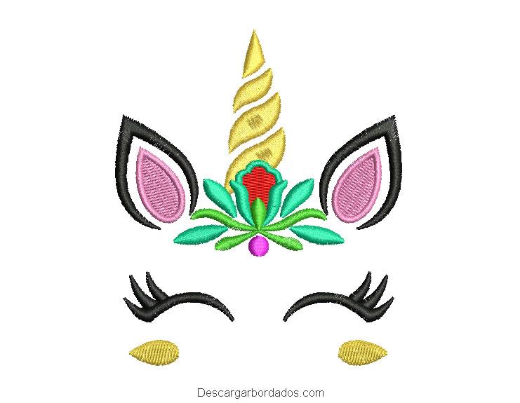 Bordado de unicornio con hojas y flores