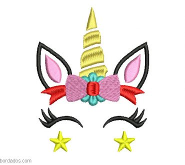 Diseño bordado de unicornio con lazo