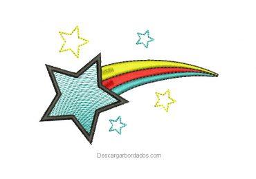 Diseño bordado estrella fugaz de navidad