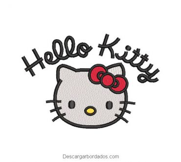 Diseño bordado hello Kitty con letra