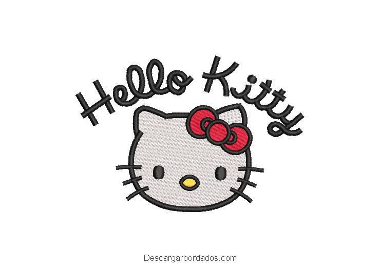 Diseño bordado hello Kitty con letra