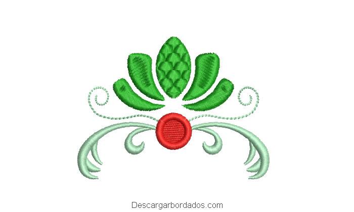 Diseño bordado hojas con decoración