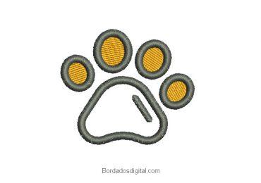Diseño bordado huella de perro