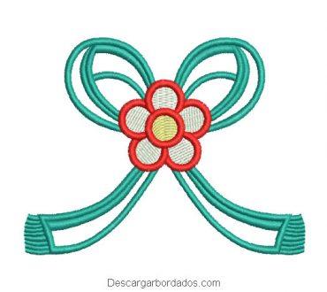 Diseño bordado lazo con flores para bordar