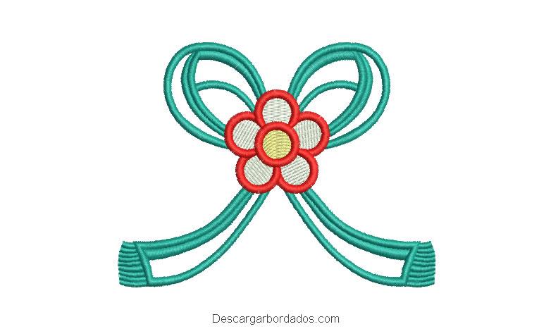 Diseño bordado lazo con flores
