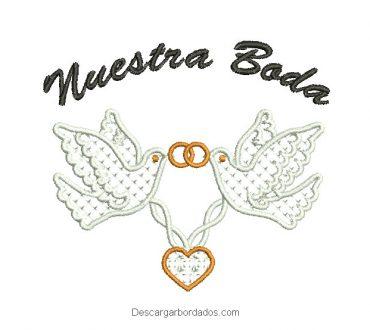 Diseño bordado letra de nuestra boda con paloma