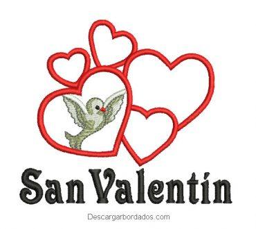 Diseño bordado letra de san valentín