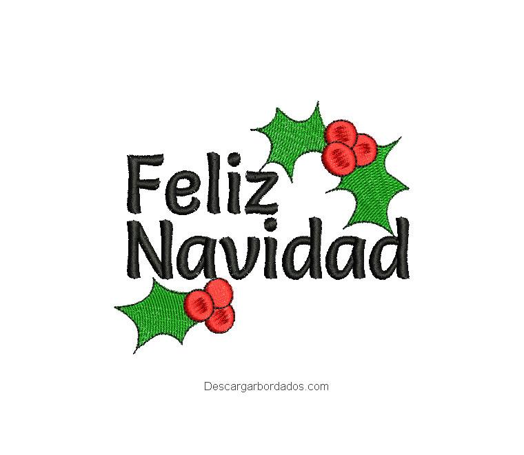 Bordado letra feliz navidad con acebo