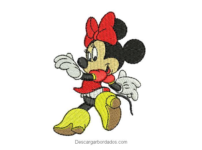 Diseño bordado minnie mouse corriendo