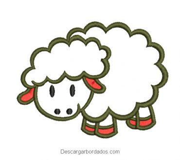Diseño bordado oveja con decoración