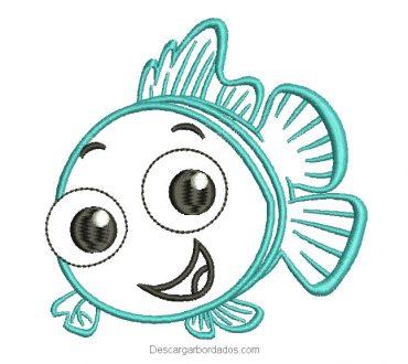 Bonito diseño bordado pez con decoración