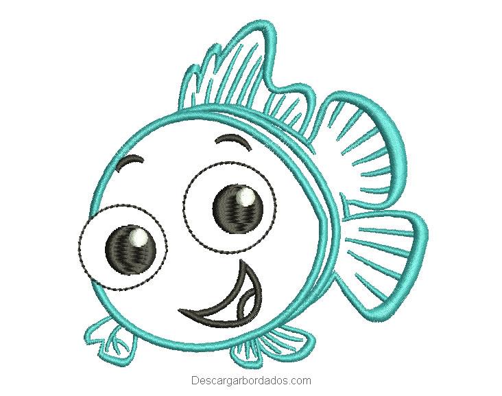 Diseño bordado pez con decoración