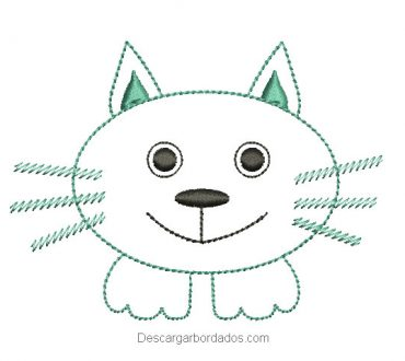 Diseño bordado rostro de gato