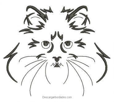 Diseño bordado rostro de gato persa