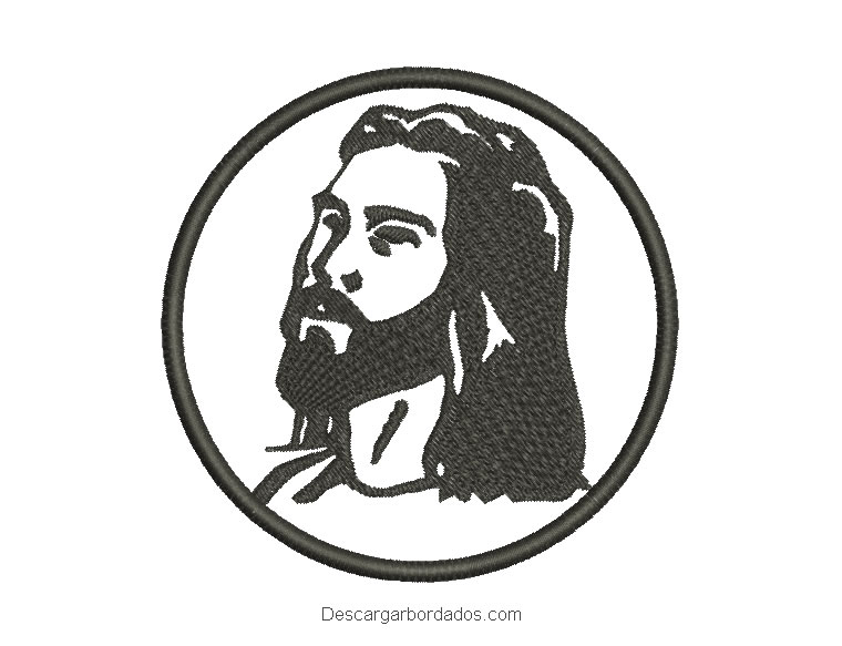 Diseño bordado rostro de Jesús en círculo