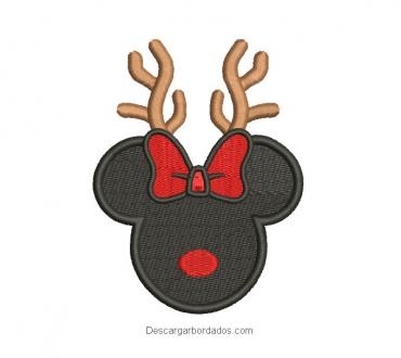 Diseño bordado rostro de minnie mouse para navidad