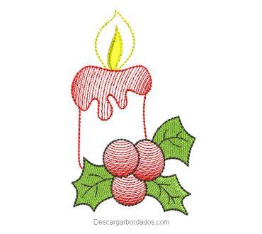 Diseño bordado vela de navidad para bordar