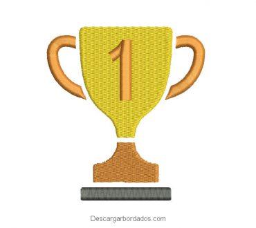 Diseño de copa trofeo para bordado
