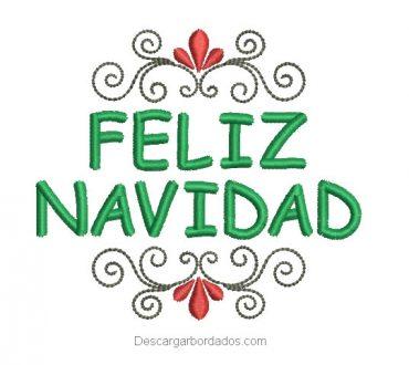 Diseños bordado de feliz navidad con decoración