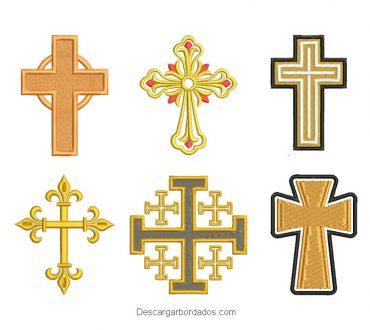 Diseños bordados cruz religiosa cristiana católica