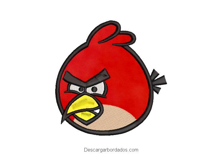 Diseño Bordado Angry birds Red con Aplicación