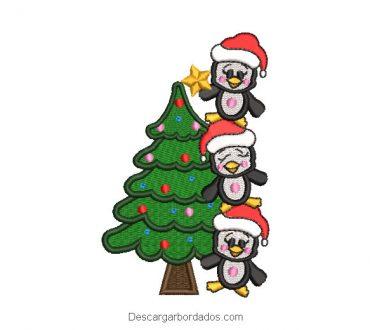 Diseño Bordado Árbol de Navidad con Pingüinos