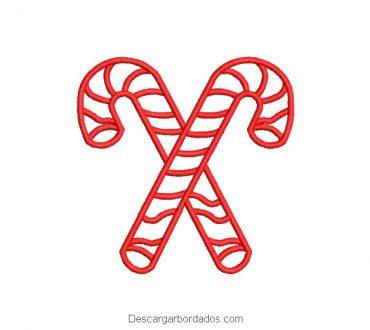 Diseño Bordado Caña de Navidad