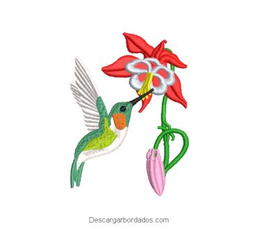 Diseño Bordado Colibrí Picando una Flor