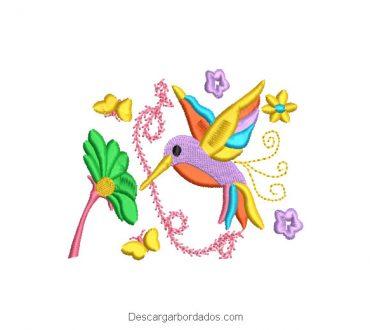 Diseño Bordado Colibri de Colores con Flores