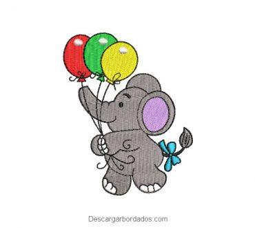 Diseño Bordado Elefante Bebé con Globos