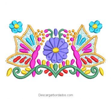 Diseño Bordado Flores de Colores con Mariposa