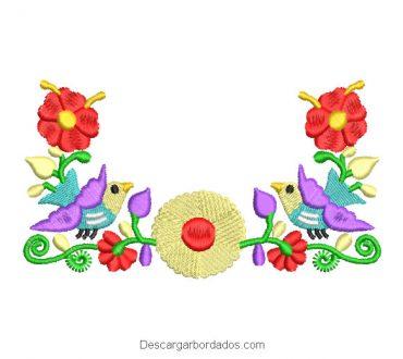 Diseño Bordado Flores de Colores con Paloma