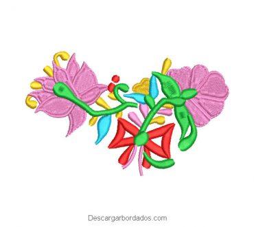 Diseño Bordado Flores de Colores con lazo