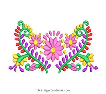 Diseño Bordado Flores de Colores en Forma de Corazón
