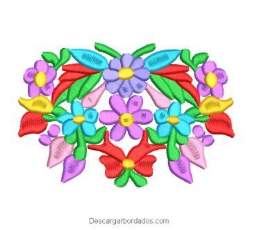 Diseño Bordado Flores y Hojas de Colores para Máquina