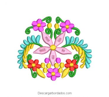 Diseño Bordado Flores y Ramas de Colores