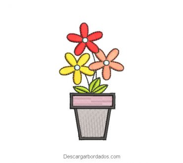 Diseño Bordado Maceta con Flores