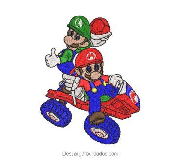 Diseño Bordado Mario Bros y Luigi en Carro