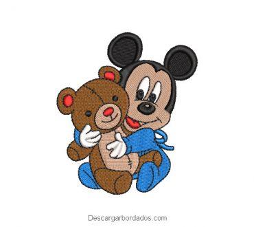 Diseño Bordado Mickey Mouse con Oso