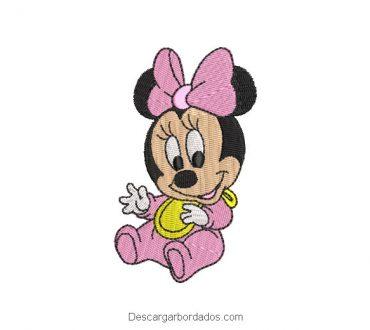 Diseño Bordado Minnie Mouse Bebé Alegre