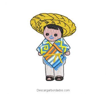 Diseño Bordado Muñeco Mexicano Infantil