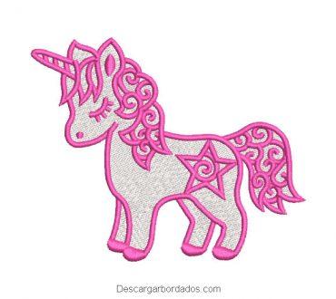 Diseño Bordado Pony Unicornio Rosado