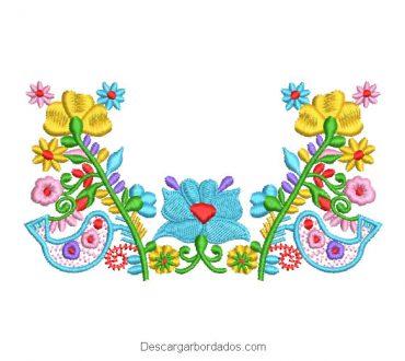 Diseño Bordado Rama de Flores con Paloma de Colores