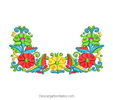 Diseño Bordado Ramo de flores del jardín