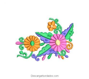 Diseño Bordado Ramos de Flores con Decoración Colores