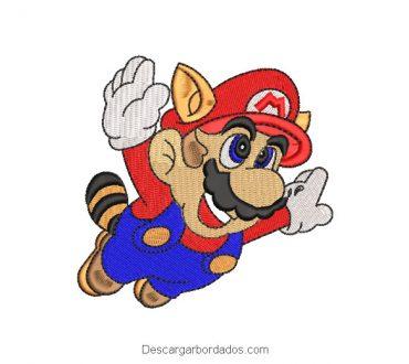 Diseño Bordado Super Mario Bros Mapache