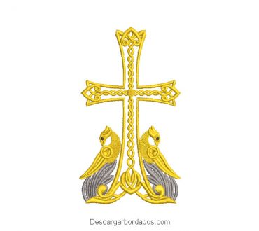 Diseño Bordado de Cruz Religioso con Ave