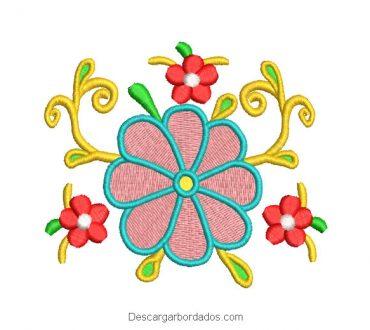 Diseño Bordado de Flores de Colores con Decoración