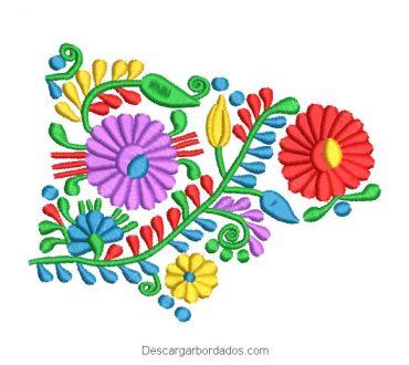 Diseño Bordado de Flores de Colores con Hojas Verdes