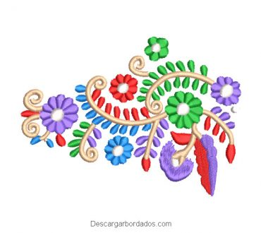 Diseño Bordado de Flores de Hungaro
